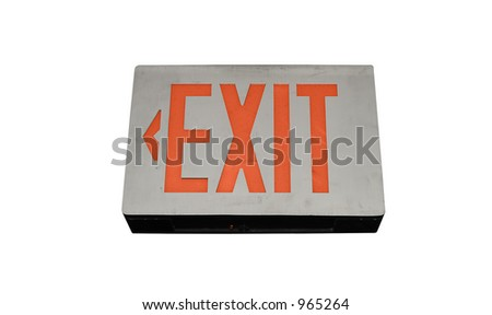 Exit sign mounted on the ceiling.