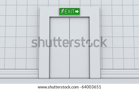 Exit sign with man and arrow on door