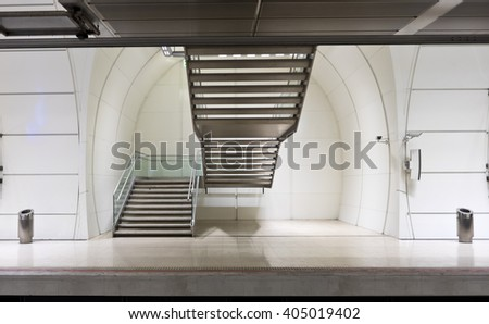 Exit stairs in the subway station. - stock photo