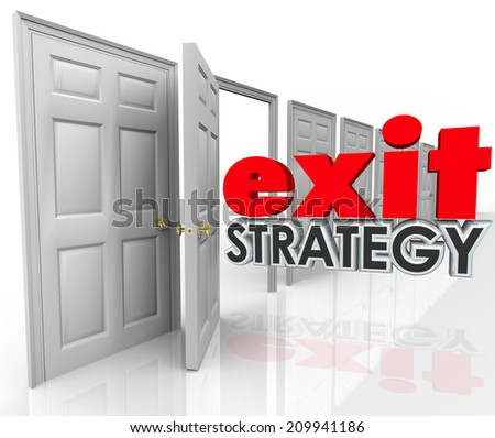 Exit Strategy 3d words going out an open door exiting, leaving, escaping or withdrawing from a company, partnership, agreement, contract or marriage - stock photo