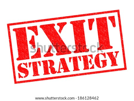 EXIT STRATEGY red Rubber Stamp over a white background. - stock photo
