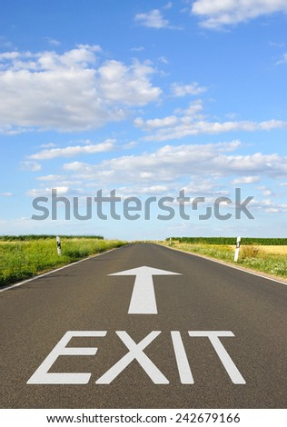 Exit - Street with arrow and text - stock photo