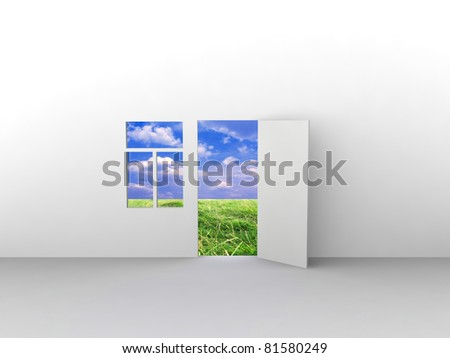 Exit to natural landscape with door and window. Concept - echo house. - stock photo
