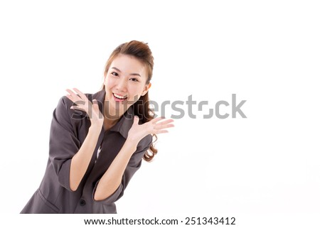 exited business woman looking at camera, white isolated - stock photo