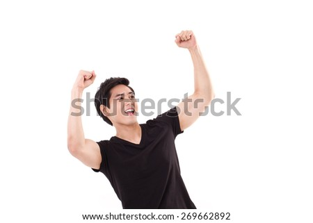exited, glad, joyful, successful man looking up - stock photo