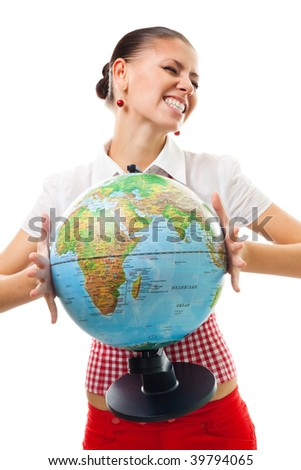 Exited happy woman hold globe with big smile,isolated on white