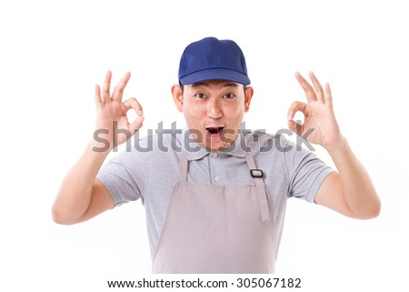 exited worker, employer with ok hand gesture on both hands