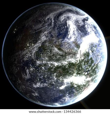 Exo Planet - Class M Earth-Like Planet - stock photo