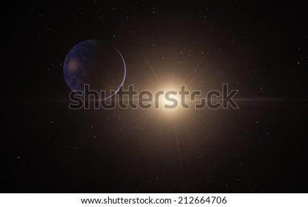 Exoplanet, far away fantastic super Earth - stock photo