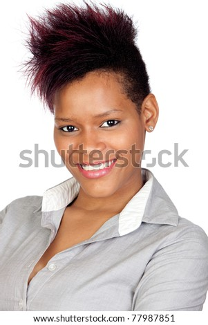 Exotic african girl isolated on white background - stock photo