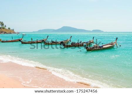 Exotic Bay of Rawai in Phuket island Thailand - stock photo