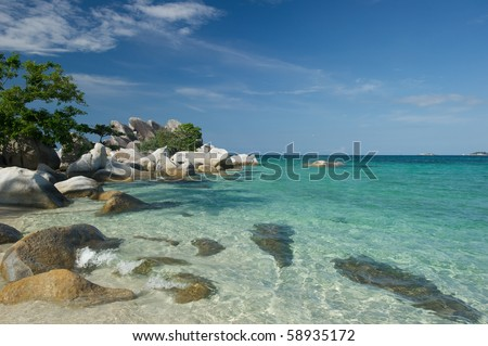 exotic beach at lengkuas island belitung indonesia - stock photo