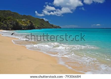 Exotic beach on Carriacou island - stock photo