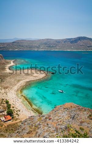 Exotic beaches - Gramvousa island/ Balos lagoon, Crete, Greece - stock photo