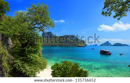 Exotic beautiful landscape of Thailand sea. Angthong marine park near koh Samui island. Tropical beach and 	archipelago view - stock photo
