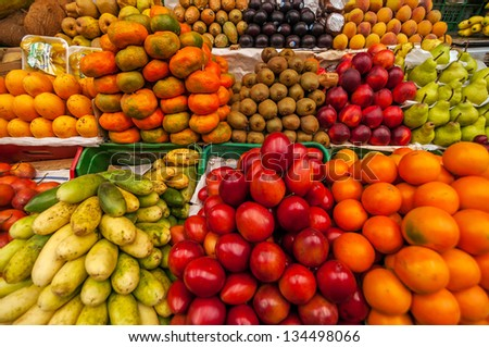Exotic colorful fruits in a market in Colombia