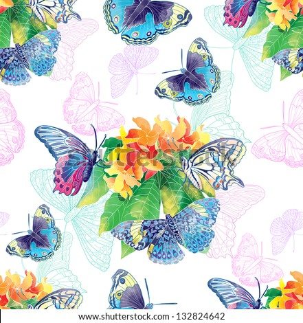 Exotic flowers and butterflies - stock photo