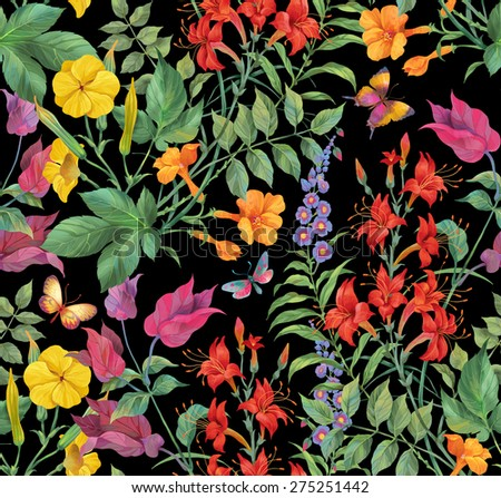 Exotic flowers and butterflies seamless background pattern. Version 4 - stock photo