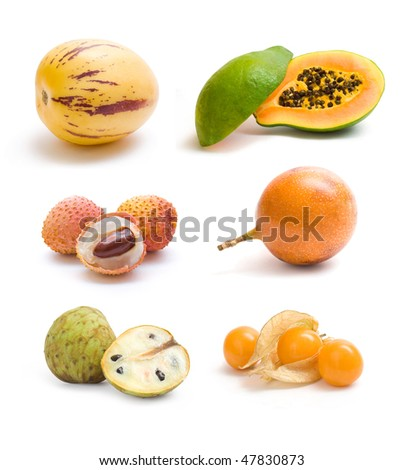 exotic fruit collection - stock photo