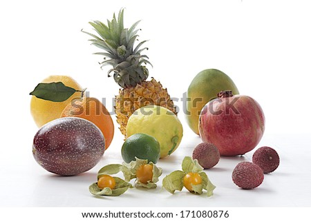 exotic fruit collection  on white backgoung - stock photo