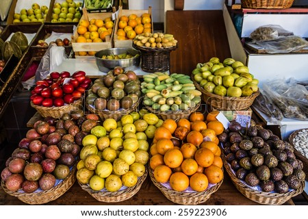exotic fruits, Madeira island - stock photo