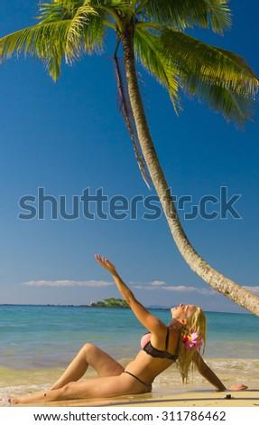 Exotic Hideaway Hot Blonde  - stock photo