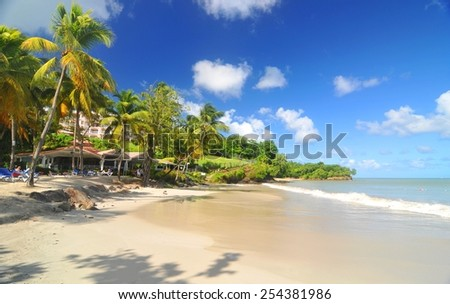 Exotic landscape in Caribbean  - stock photo