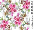 Exotic little humming-birds and beautiful blooming flowers seamless pattern on white background - stock photo