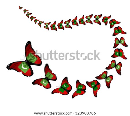 Exotic Maldives flag butterflies flying on white background as symbol freedom
