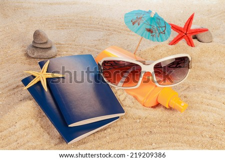Exotic new year Holiday on golden sand - stock photo