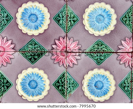 Exotic old mansion tiles detail texture(repetitive) - stock photo