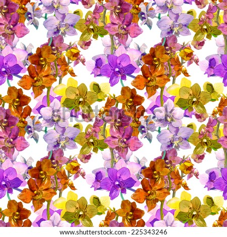 Exotic orchid flowers. Repeating floral pattern. Watercolor - stock photo