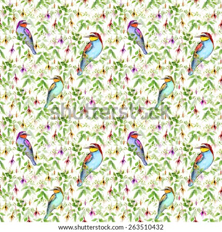Exotic pink flowers and bright tropical birds. Seamless floral pattern. Watercolour - stock photo
