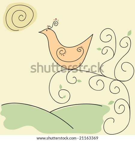 Exotic retro style bird on swirly tree branch