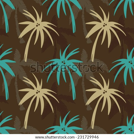 Exotic seamless pattern with silhouettes tropical coconut palm trees. Forest, jungle. Abstract nature hand drawn background texture. Cloth art design - stock photo