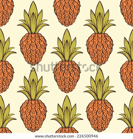 Exotic seamless pattern with tropical fruit pineapples. Food repeating background. Abstract print texture. Cloth design. Wallpaper  - stock photo