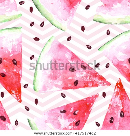 Exotic summer watercolor seamless pattern with slices of watermelon, natural pattern on white background, summer tropical illustration.Raster summer design.Watercolor hand drawing.Fresh organic food. - stock photo