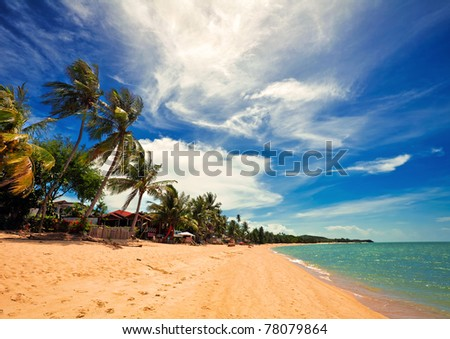 Exotic tropical beach. Thailand - stock photo