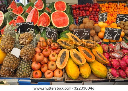 Exotic Tropical Fruits at Farmers Market - stock photo
