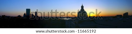 expanded beautiful awe inspiring Bird's Eye Panoramic view of Boston on a early Spring evening as the sun sets - stock photo