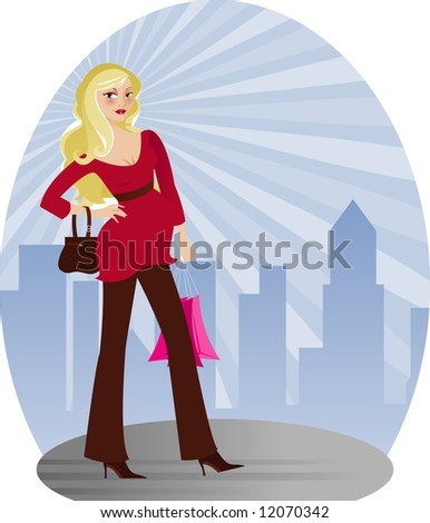 Expectant mother looking beautiful in stylish modern fashion - radiant city skyline behind her... - stock photo