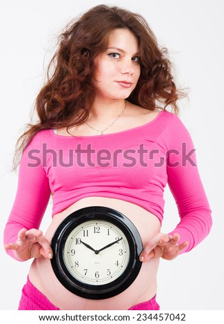 Expecting very Soon Posing with her Tummy  - stock photo