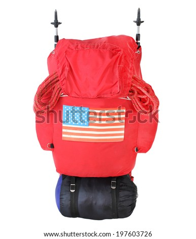Expedition bag with mountaineering equipment and american flag. - stock photo