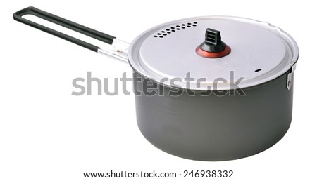expedition pot equipment isolated on white background - stock photo