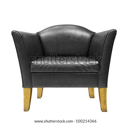 Expensive Black leather armchair  isolated on white background