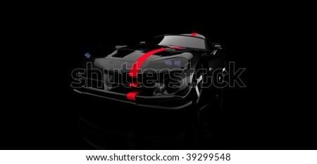 expensive black sports car - stock photo