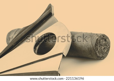 Expensive cigar and cutter on a white background - stock photo