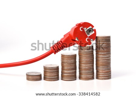 expensive electricity cost due to using too much energy consumption appliance / Effect of not using energy efficient appliances - stock photo