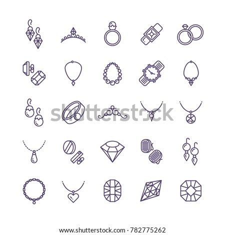 Expensive Gold Jewelry Diamond Line Icons Stock Illustration