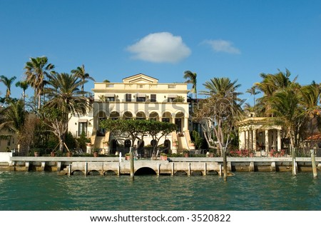 expensive house by the bay in Miami's key Biscayne Florida. Home to the rich and famous - stock photo